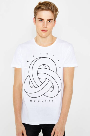 Cotton T-shirt with print on front and back