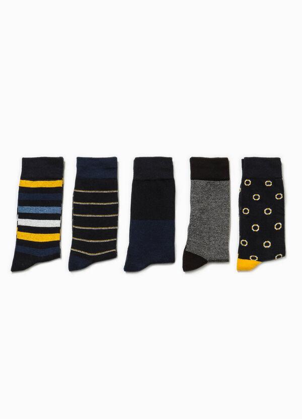 Five-pair pack short patterned socks | OVS