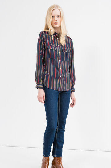 Shirt with tab and striped print, Blue, hi-res