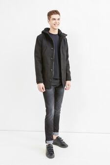 Wool-viscose blend coat with hood, Black, hi-res