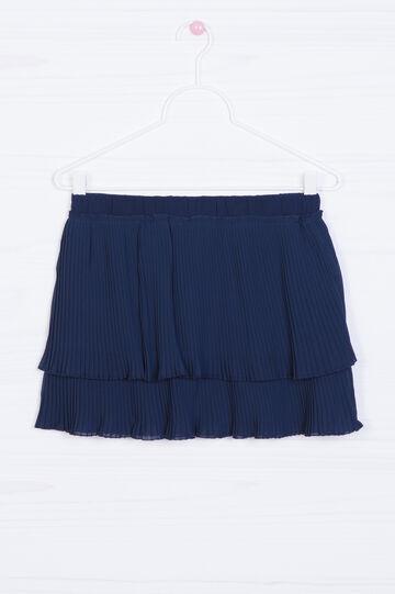 Pleated skirt with flounces, Blue, hi-res