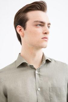 Rumford solid colour linen shirt, Green, hi-res