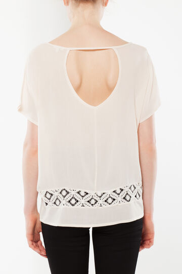T-shirt with openwork detail, Milky White, hi-res