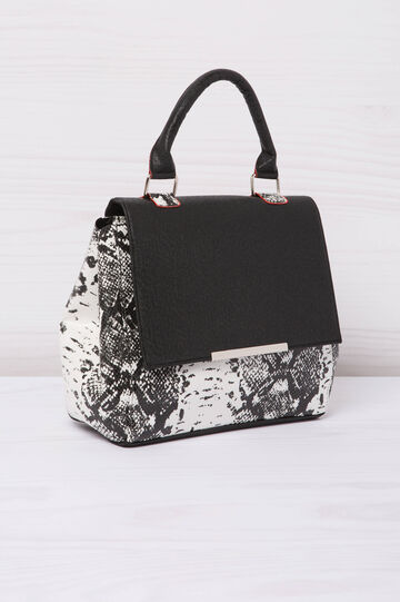 Animal print leather look handbag, Black/White, hi-res