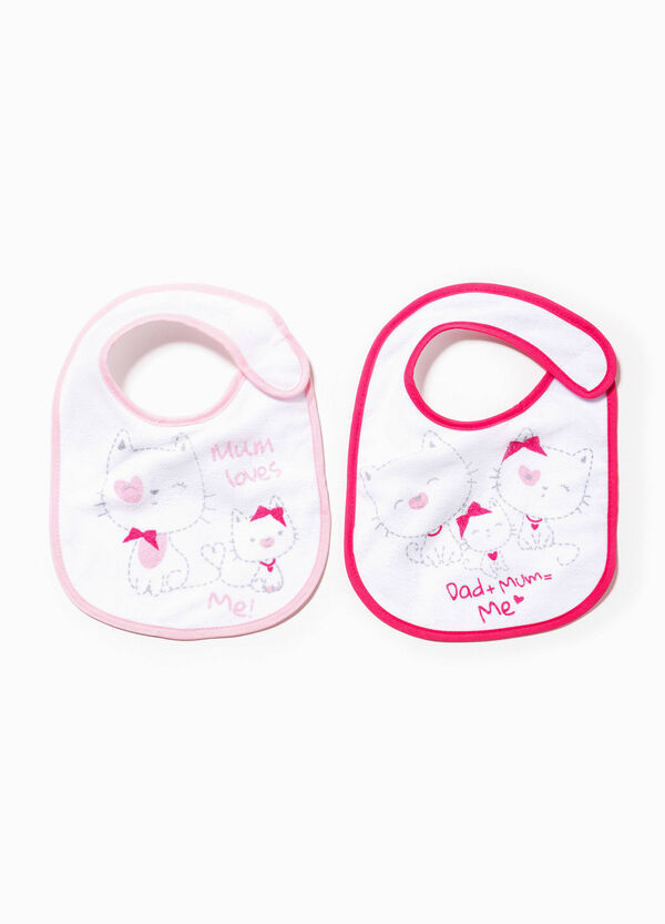 Two-pack bibs with cats print | OVS