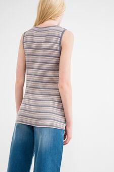 Ribbed top in 100% striped cotton, Grey/Pink, hi-res