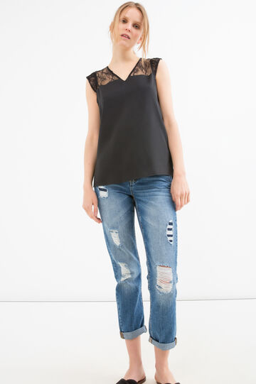 Solid Colour sleeveless blouse, Black, hi-res