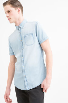 Worn-effect denim shirt, Light Wash, hi-res