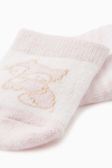 Two-pack short socks with stripes and embroidery, White/Pink, hi-res