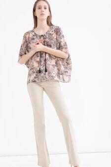 Printed blouse with ties, Chocolate Brown, hi-res