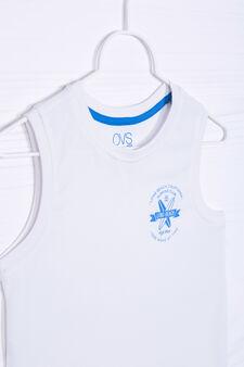 Solid colour 100% cotton vest, White, hi-res