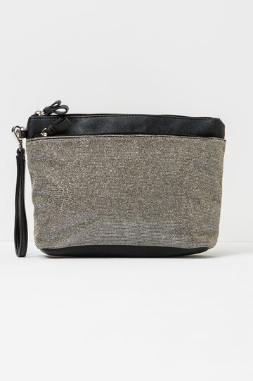 Glitter clutch with lace, White/Black, hi-res