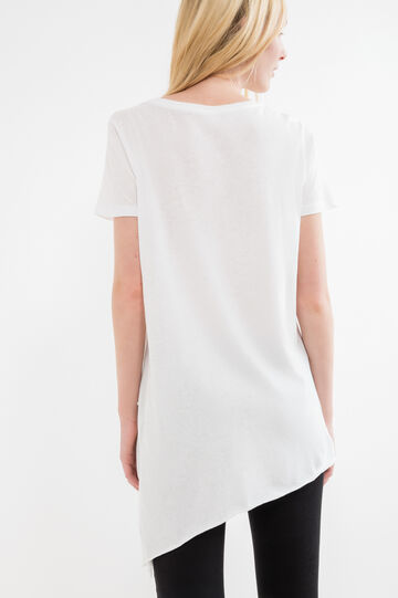100% cotton T-shirt with flared cut, White, hi-res