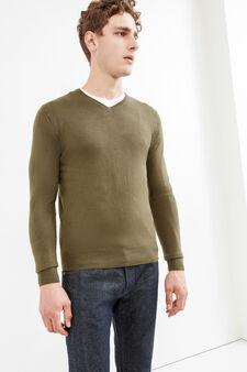 Solid colour V-neck pullover, Olive Green, hi-res