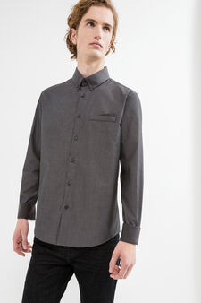 Slim-fit casual shirt with micro pattern, Grey, hi-res
