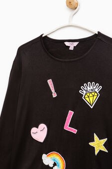 100% viscose T-shirt with patches, Black, hi-res