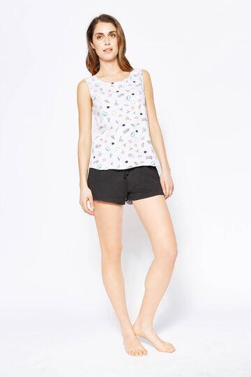 Patterned pyjama top and shorts, Black/Grey, hi-res