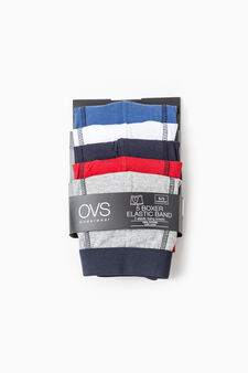 Five-pack solid colour cotton boxer shorts, Blue/Red, hi-res