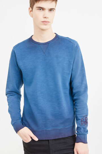 G&H cotton sweatshirt with printed lettering, Blue, hi-res