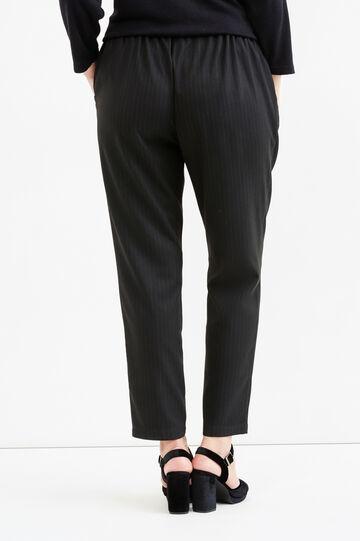 Pantaloni stretch gessati Curvy, Nero, hi-res