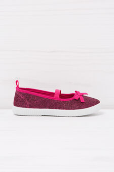 Glitter slip-ons with bow, Fuchsia, hi-res