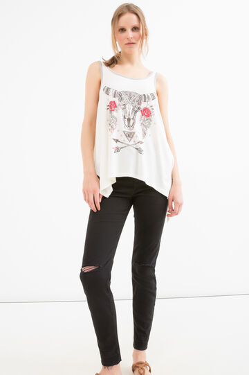 Cotton and modal top with print, Milky White, hi-res
