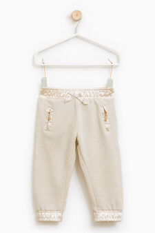 Cotton and lurex blend trousers., Beige, hi-res