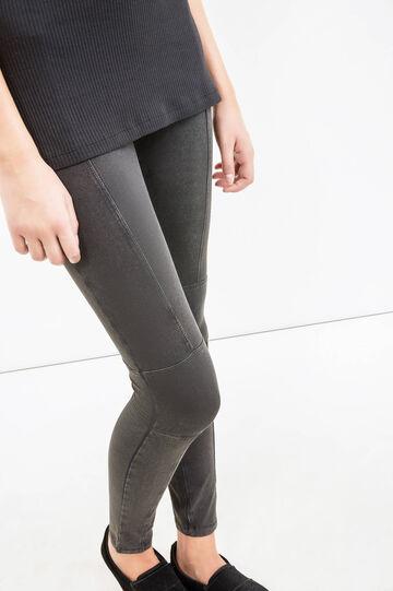 Leggings cotone stretch tinta unita, Nero, hi-res