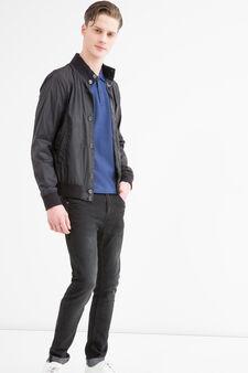 Solid colour ribbed jacket, Black, hi-res