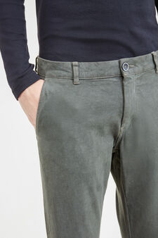 Regular-fit stretch cotton chino trousers, Light Grey, hi-res