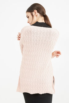 Cotton striped weave pullover, Pink, hi-res