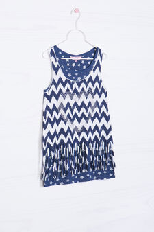 Cotton blend top with long fringe, White/Blue, hi-res