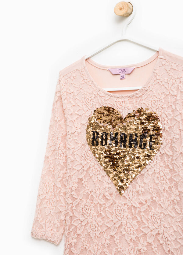 T-shirt in viscose with sequins and lace | OVS