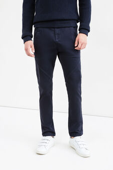 Fashion baggy-fit stretch chino trousers, Blue, hi-res