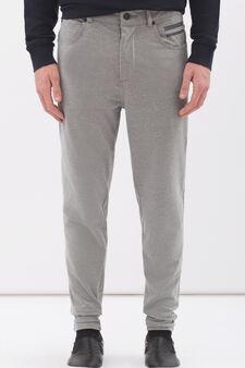 Denim-cut trousers in stretch fleece, Grey, hi-res