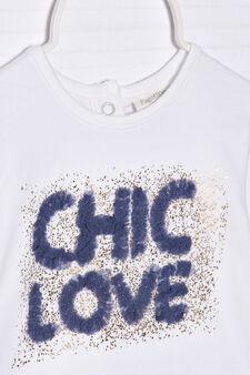 T-shirt cotone stretch con stampa, Bianco latte, hi-res