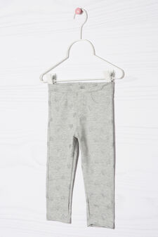 Pantaloni stretch fantasia cuori, Grigio, hi-res