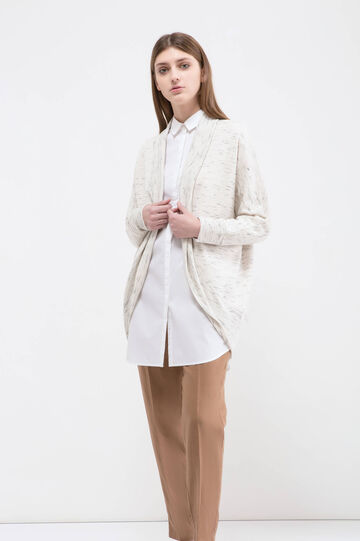Patterned stretch cardigan, White, hi-res