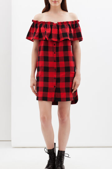 Tartan dress with flounce