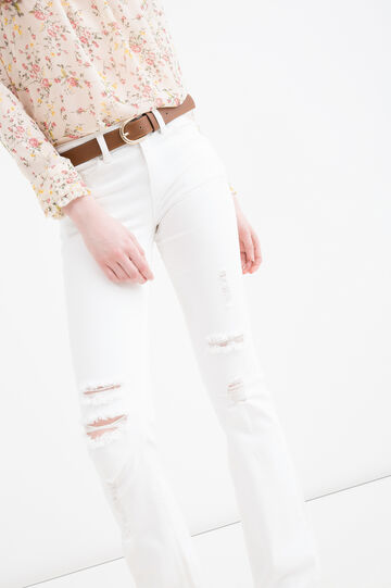 Stretch trousers with rips, White, hi-res