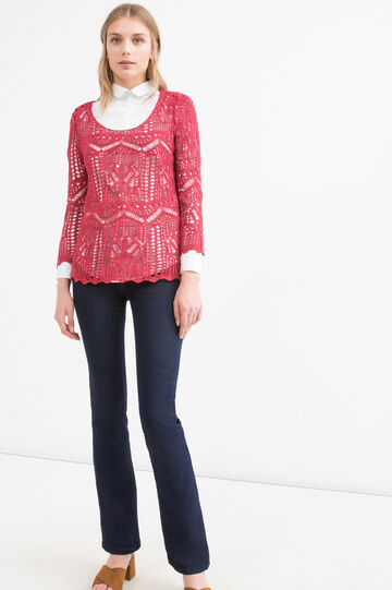 Knit openwork pullover, Red, hi-res