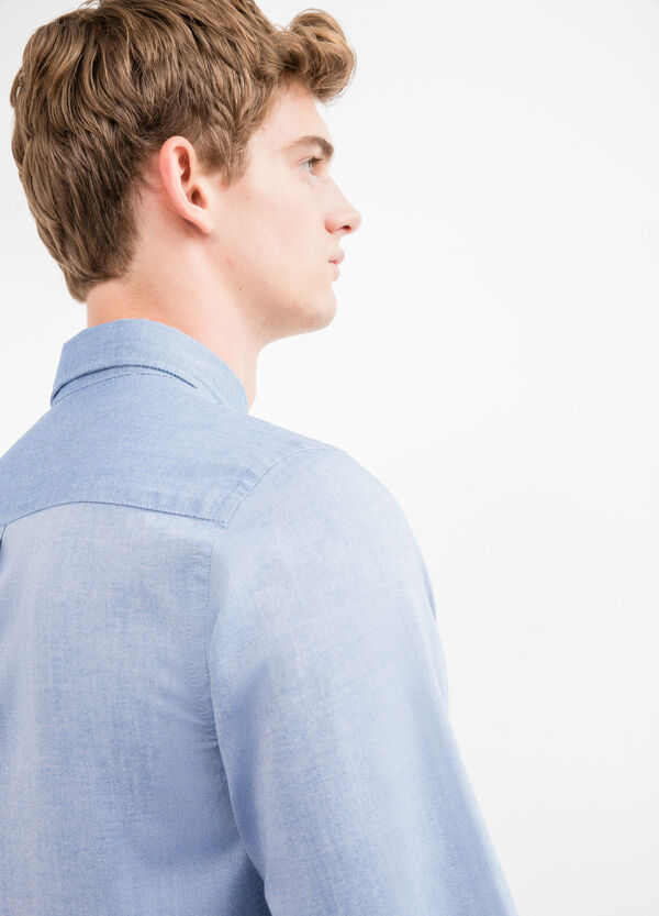 Slim-fit casual shirt in 100% cotton | OVS