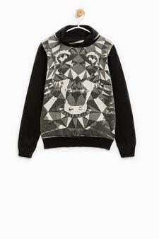 Maxi print cotton pullover, Black/Grey, hi-res