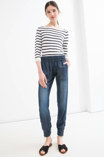Jeans boyfriend effetto used, Blu scuro, hi-res