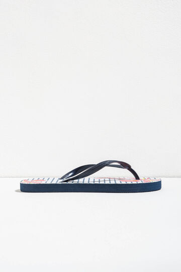 Rubber flip flops with striped pattern, White/Blue, hi-res