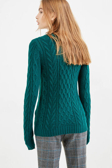 Solid colour knit crew neck pullover, Green, hi-res