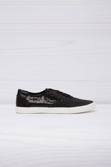 Low-top glitter sneakers, Black, hi-res