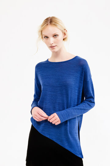 Mélange sweatshirt with asymmetric hem, Blue, hi-res