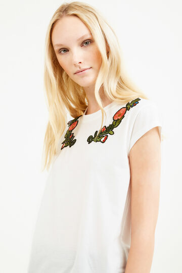 Cotton stretch T-shirt with patches and embroidery, White, hi-res