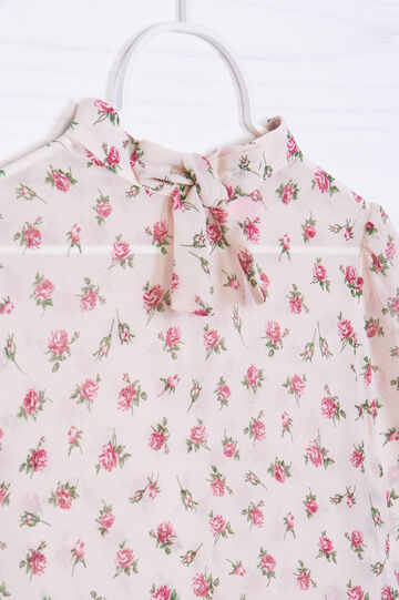 Blusa floreale con fiocco, Multicolor, hi-res